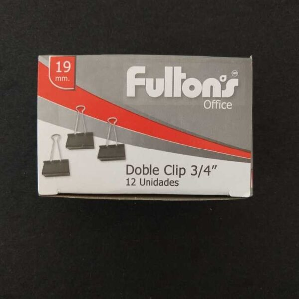 Clip Doble Negro 19 Mm Metalico Fultons