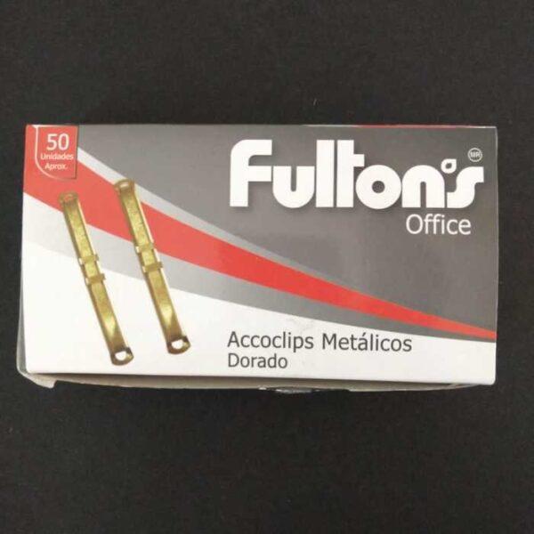 Accoclip Metalico Cja. 50 Un. Dorado Fultons