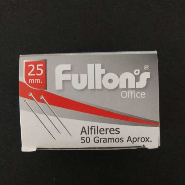 Alfiler Metalico 25 Mm Cromado Cja. 50 Gr. Office Fultons