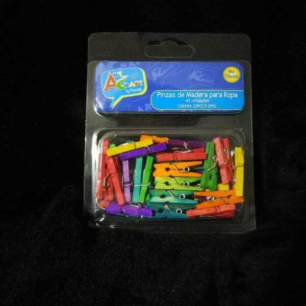 Mini Pinzas para Ropa Madera 45 piezas Color 0,9 x 2,5 cm Art & Craft