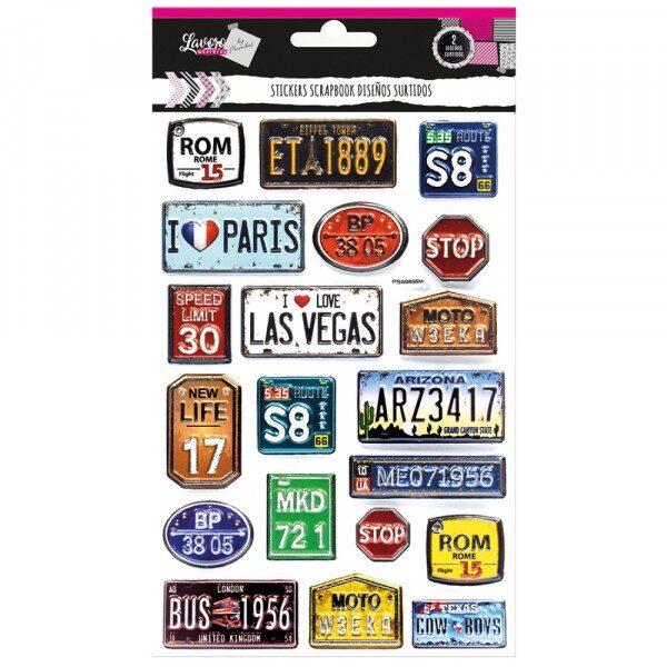 Sticker Scrapbook Placas/Corazones Lavoro