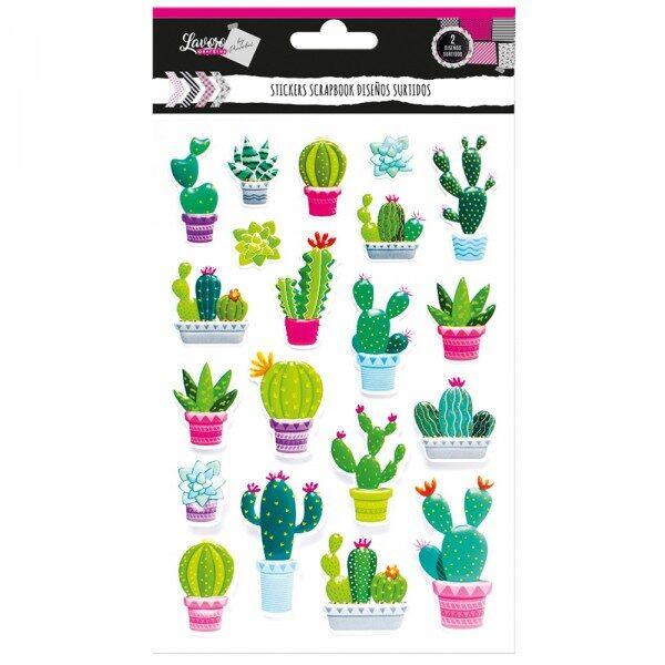 Sticker Scrapbook Infantil Cactus y Perezoso Lavoro
