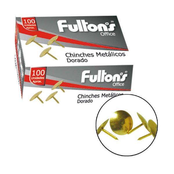 Chinche Metal Dorado 100 unid. Fultons