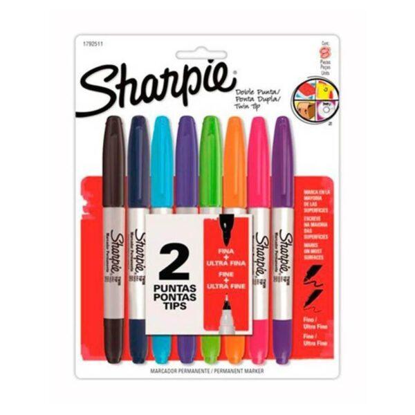 Marcadores Sharpie Doble Punta, Fina Y Ultra Fina Set 8 unid.